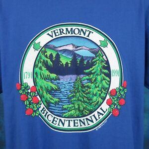 vintage-1991-VERMONT-BICENTENNIAL-T-Shirt-LARGE-XL-nature-tourist-thin-80s-90s