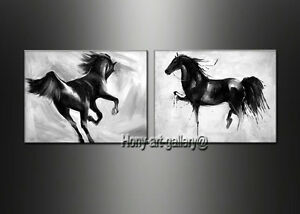 Details About Modern Black And White Horse Abstract Oil Painting Canvas Wall Art Decor Oil150