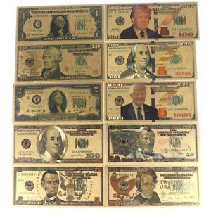 8Pcs//set commemorative gold foil usa dollars paper money banknotes collectionsTB