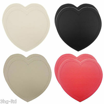 Set of 2 Faux Leather Heart Table Placemats - Black Red Cream Brown New FREE P&P