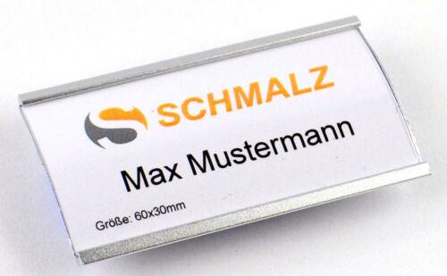 20 x Modisches Namensschild aus eloxiertem Aluminium mit Magnet
