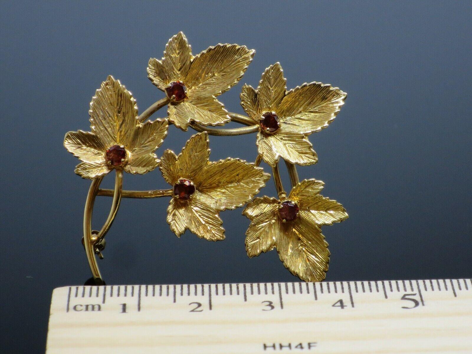 Vintage 0.5CTW Garnet 9K Yellow Gold Brooch Pin, … - image 9