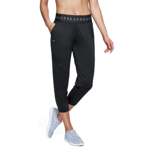 Under Armour UA HeatGear Ladies Black Sports Gym Loose Crop 3//4 Pants