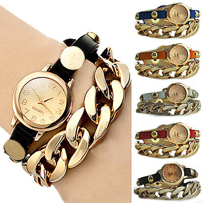 Cool Women's Golden Dial Faux Leather Chain Analog Quartz Bracelet Wrist Watch