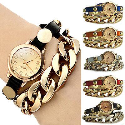 Cool Women's Golden Dial Faux Leather Chain Analog Quartz Bracelet Wrist Watch