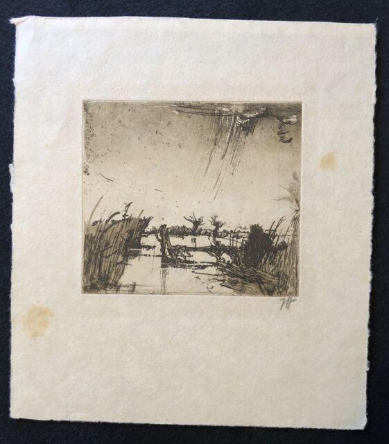 Horst Janssen, Der kleine Angler, Radierung, 1987, handsigniert