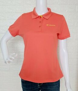 Columbia Orange Polo Shirt Collared Blouse size Medium