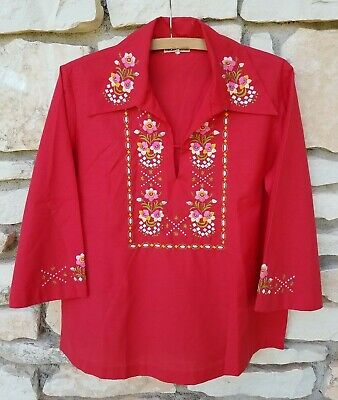 Medium 70s Embroidered Button Up Shirt Vintage Boho Floral Collared Hippie Top