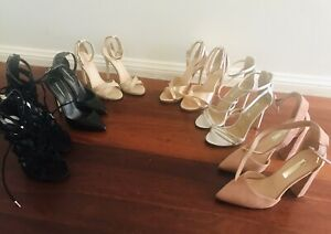 6-Pairs-Of-As-New-Stiletto-Shoes-Size-5-1-Size-6-Heels-Silver-Black-Rose-Gold