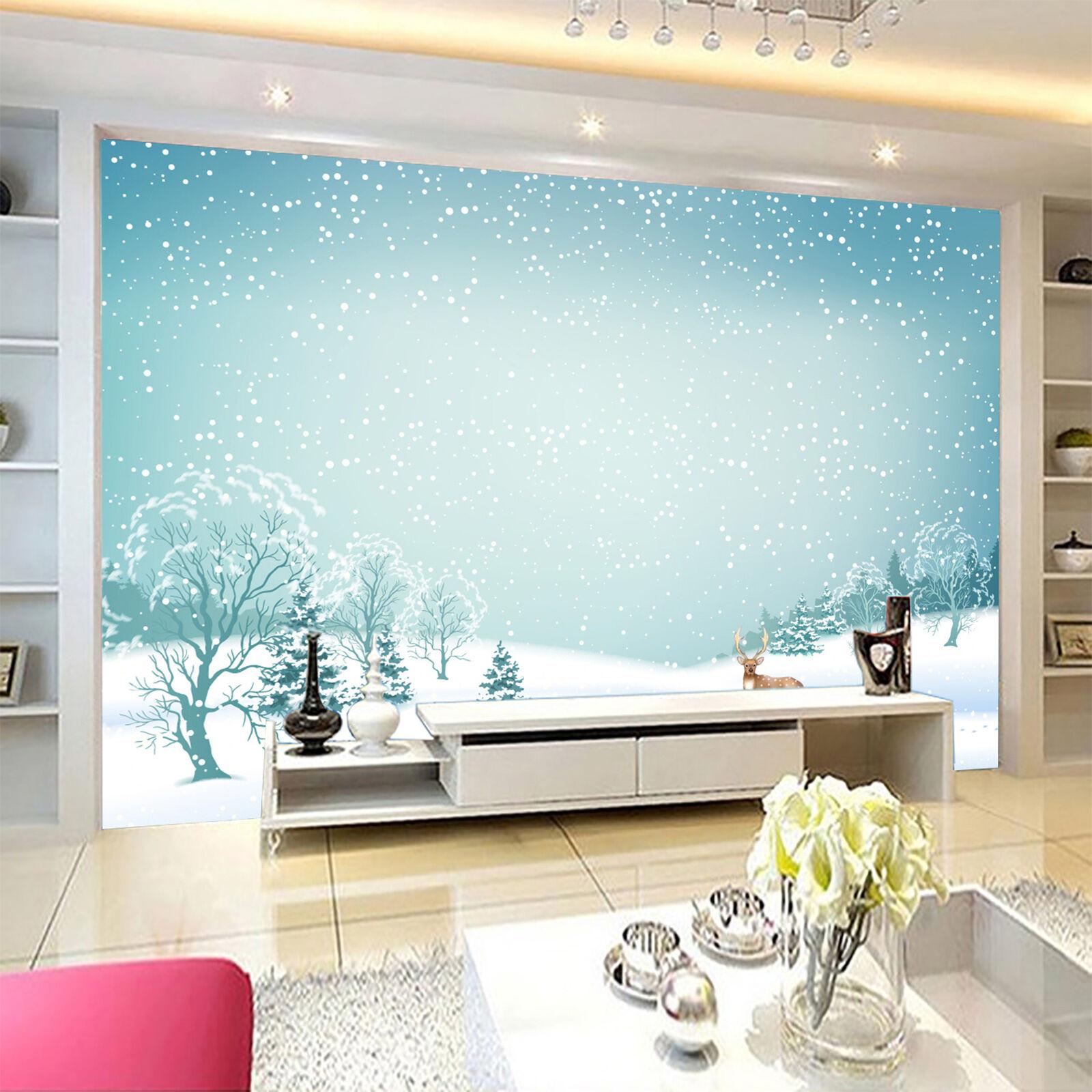 3D Snowing Cartoon deer Wall Paper Print Decal Wall Deco Indoor wall Mural