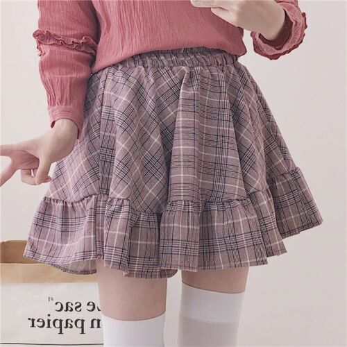 Plaid Ruffles Mini Skirt Kawaii Harajuku Lolita Elastic Waist Checkered Bottoms