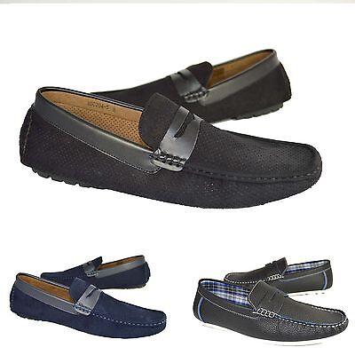 NUEVO Hombre Ante Sin Cordones Mocasines Planos Casual Conducción/Zapatos UK