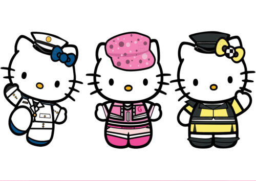 MIX-MULTI PERSONNAGES. STICKER AUTOCOLLANT POSTER A4 HELLO KITTY
