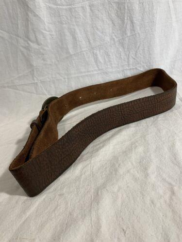 Vintage Soaring Eagle Belt Buckle Round Brass Men/'s Buckle Brown Leather Belt Size 34-36