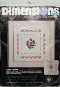 Counted-Cross-Stitch-Roses-039-n-Lace-Sampler-Pillow-Dimensions-3610-Vintage-1986
