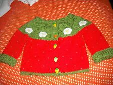 girls hand knitted strawberry cardigan,6-9 months.