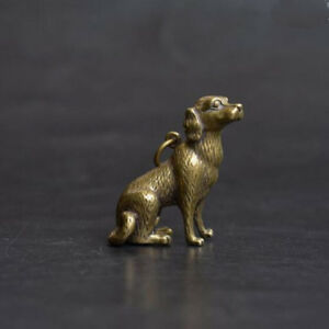 Chinese-Old-Collectibles-pure-brass-lucky-Zodiac-dog-statue-pendant