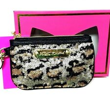 Betsey Johnson Coin Wallet Purse Sequin Zip Top Leopard Print NWT Accessory