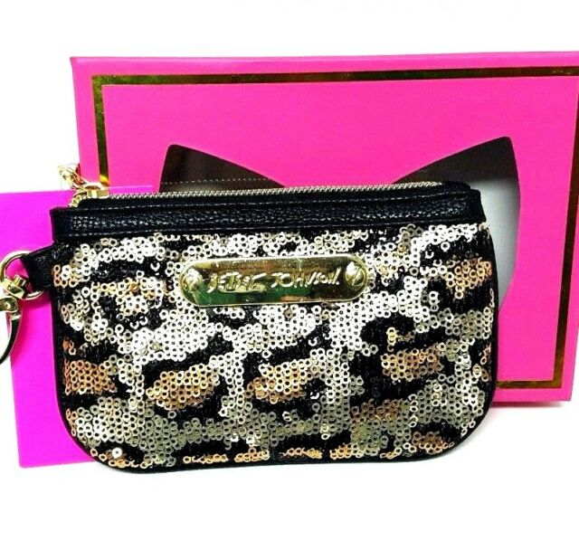 Betsey Johnson Coin Wallet Purse Sequin Zip Top Leopard Print New Accessory
