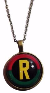 "DC Comics BATMAN Logo Glass Dome PENDANT on 20/"" Chain"