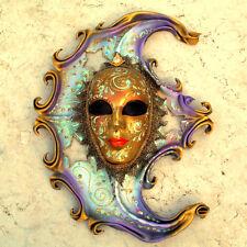 Luna - Maschera veneziana artigianale in ceramica e cuoio - Pezzo unico