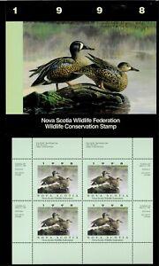 NOVA-SCOTIA-7M-1998-BLUE-WINGED-TEAL-CONSERVATION-STAMP-MINI-SHEET-OF-4-FOLDER