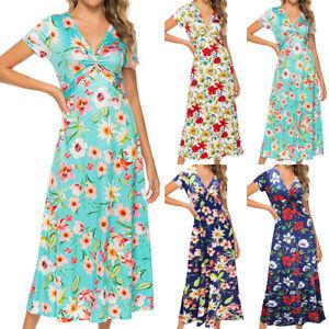 Dame-V-Ausschnitt-Schlank-Party-Abendkleid-Sommerkleid-Vintage-Gebluemt-Maxikleid
