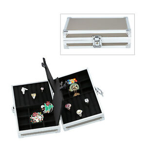 Gray Faux Leather Aluminium Briefcase Jewelry Organizer Box Storage Lock Key