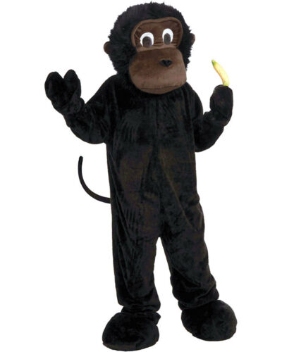 Morris Costume Boys Gorilla Mascot Complete Outfit Black Brown One Size FM65611