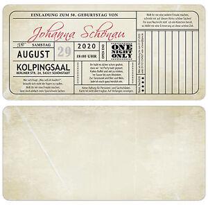 Das Bild Wird Geladen Vintage Einladungskarten Zum Geburtstag Mit Antwort  Teil Einladung