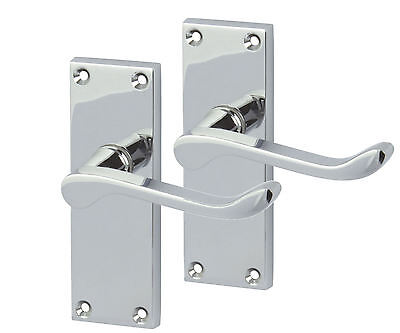 Victorian Polished Chrome Lever Scroll Latch Door Handles (6 Sets)