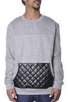 Mens Basic Fleece Plus Size M Society Pu Leather Urban Hip Hop Crewneck Sweater on sale