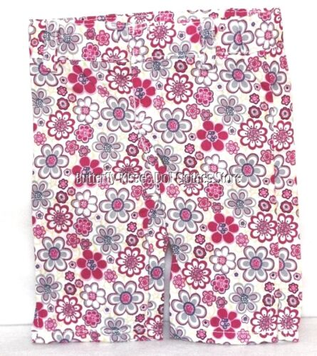 Pink Flower Print Capri Pants Jeans 18 in Doll Clothes Fits American Girl