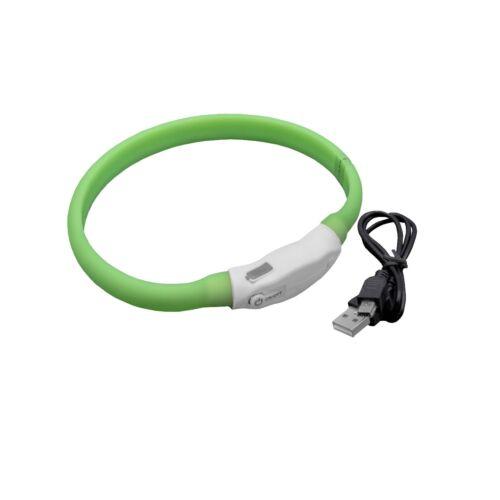 Gummi Hunde Halsband mit LED's grün 35cm wiederaufladbar Mini-USB