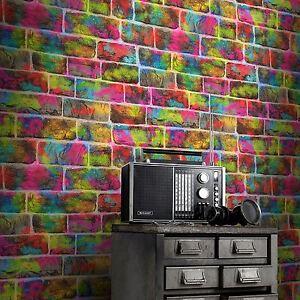 Brique-Mur-Graffiti-Papier-Peint-Rouleaux-Rasch-291407-Neon