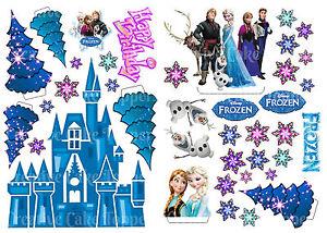 EDIBLE Disney FROZEN ICE CASTLE Anna Elsa WAFER Stand Up Birthday