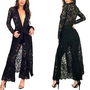 Vestiti Eleganti In Pizzo.Abito Donna Completo Pantalone Spolverino Pizzo Vestito Elegante
