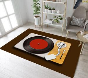 Details About Brown Background Retro Vinyl Records Area Rugs Bedroom Living Room Floor Mat Rug