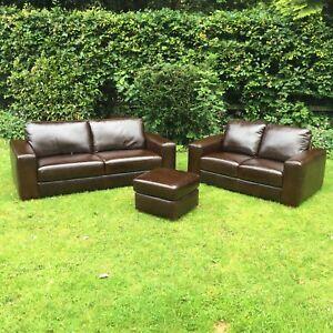 Brown Genuine Semi Aniline Leather 3str 2str Free Footstool Ebay