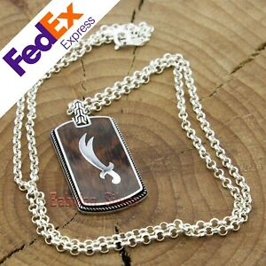 Turkish-Handmade-925-Sterling-Silver-Snake-Wood-Sword-Men-039-s-Luxury-Necklace