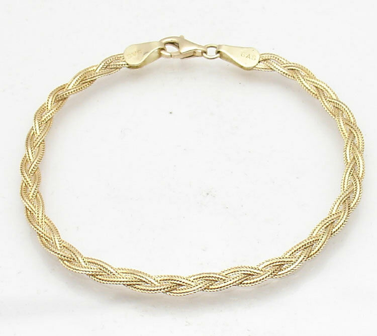 Triple Strand Braided Fox Tail Link Bracelet Real 14K Yellow gold FREE SHIPPING
