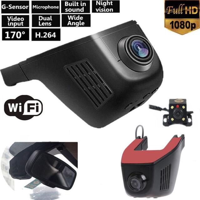 WiFi Phone App 1080P HD Car Hidden Camera Dual Lens DVR Video Recorder Dash Cam
