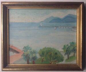 Beau-Tableau-Ancien-Post-Impressionniste-Marine-Baie-de-CANNES-Huile-Signee