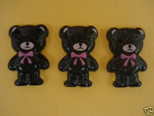 "20 Shimmer Little Black Bear 1/"" Flatback Button//bow//Baby//Craft//Resin//decor B19"