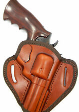 "CEBECI BROWN LEATHER OWB BELT SLIDE HOLSTER - RUGER SP101 4.2"" REVOLVER"