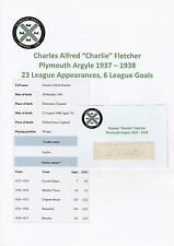CHARLIE FLETCHER PLYMOUTH ARGYLE 1937-1938 VERY RARE ORIGINAL SIGNED CUTTING