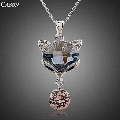 Fashion Lovely Fox Chain Pendant Austrian Crystal White Gold Plated Necklace
