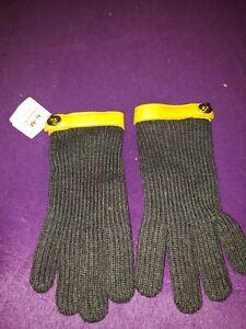 Coach-82823-Women-039-s-Rib-Knit-Turnlock-Leather-Trim-Casual-Gloves-m-l-sz-gray