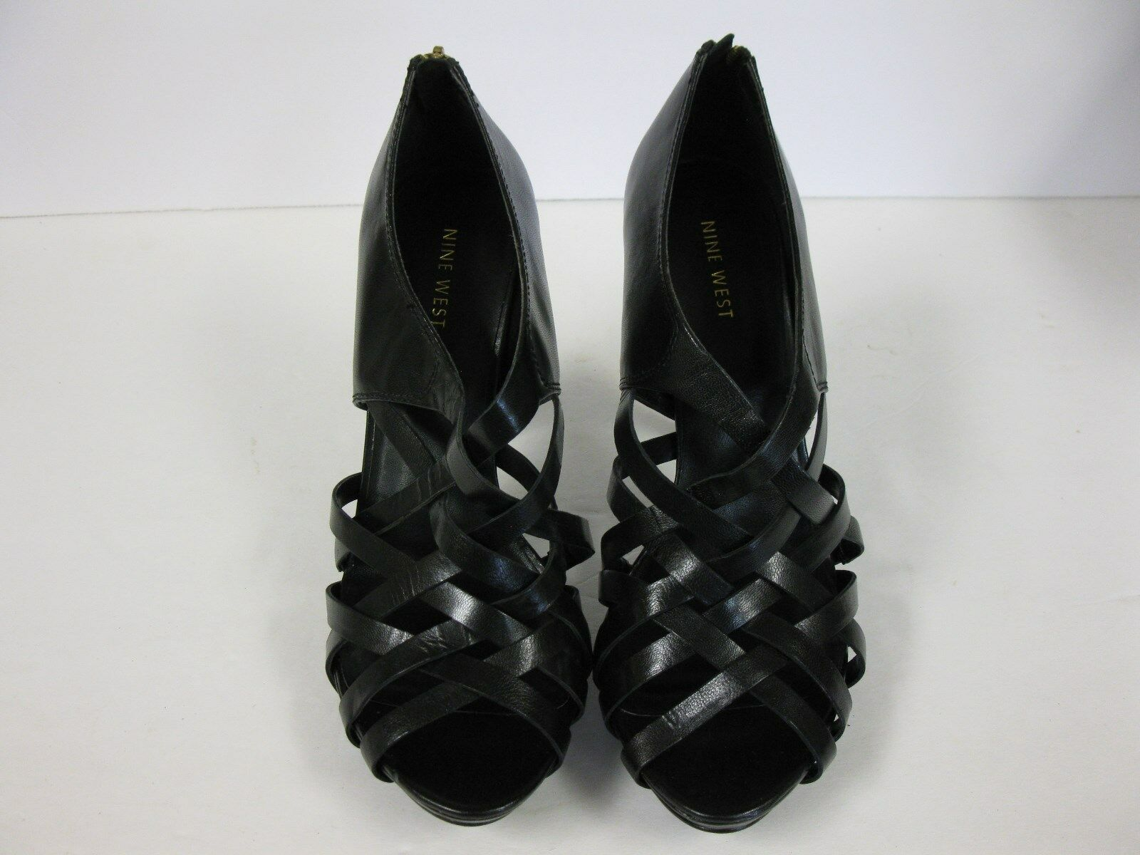 New NINE WEST everx5 Black  leather high heel ankle zip boots US Sz 9.5