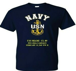 USS-MIAMI-CL-89-IWO-JIMA-1945-WW2-VINYL-amp-SILKSCREEN-NAVY-ANCHOR-SHIRT